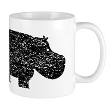 Distressed Hippopotamus Silhouette Mugs