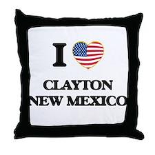 I love Clayton New Mexico Throw Pillow