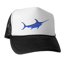 Distressed Blue Swordfish Trucker Hat
