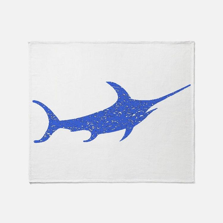 Distressed Blue Swordfish Throw Blanket