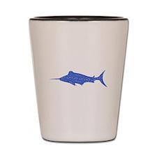 Distressed Blue Swordfish Shot Glass