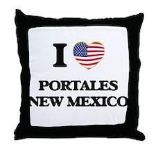 I love Portales New Mexico Throw Pillow