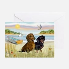 Rowboat & Dachshund Pair Greeting Cards (Package o