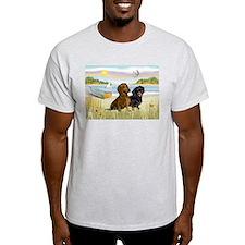 Rowboat & Dachshund Pair Ash Grey T-Shirt