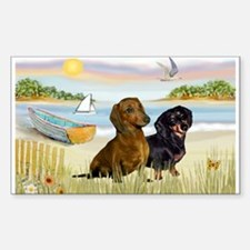 Rowboat & Dachshund Pair Rectangle Decal