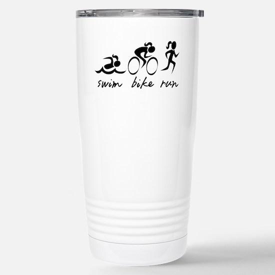 Swim Bike Run (Girl) Stainless Steel Travel Mug