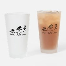 Swim Bike Run (Girl) Drinking Glass