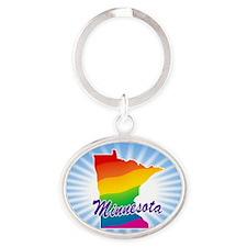 Rainbow State Oval Keychain