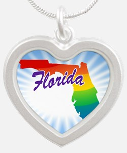 Rainbow State Silver Heart Necklace