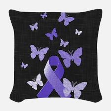 Purple Awareness Ribbon Woven Throw Pillow