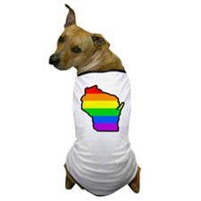 Rainbow Striped State Dog T-Shirt