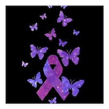 "Purple Awareness Ribbon Square Car Magnet 3"" x 3"""