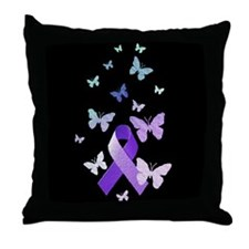Purple Awareness Ribbon Throw Pillow