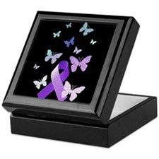 Purple Awareness Ribbon Keepsake Box