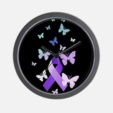 Purple Awareness Ribbon Wall Clock