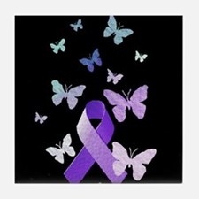 Purple Awareness Ribbon Tile Coaster