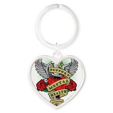 Cute Green ribbon Heart Keychain