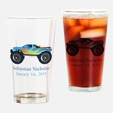 CUSTOM Monster Truck w/Baby Name Date Drinking Gla