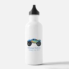 CUSTOM Monster Truck w/Baby Name Date Water Bottle