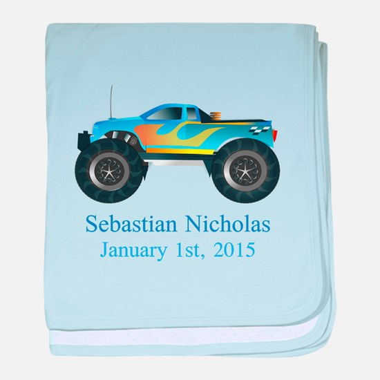 CUSTOM Monster Truck w/Baby Name Date baby blanket