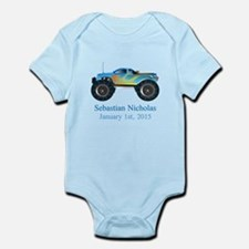 CUSTOM Monster Truck w/Baby Name Date Body Suit