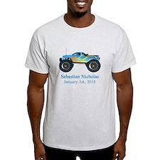 CUSTOM Monster Truck w/Baby Name Date T-Shirt