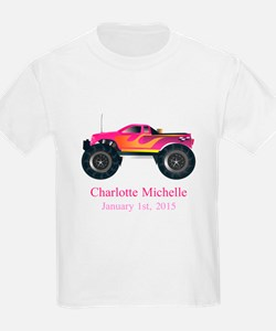 CUSTOM Pink Monster Truck with Name Birthdate T-Sh