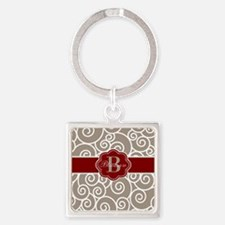 Beige Red Swirl Personalized Keychains