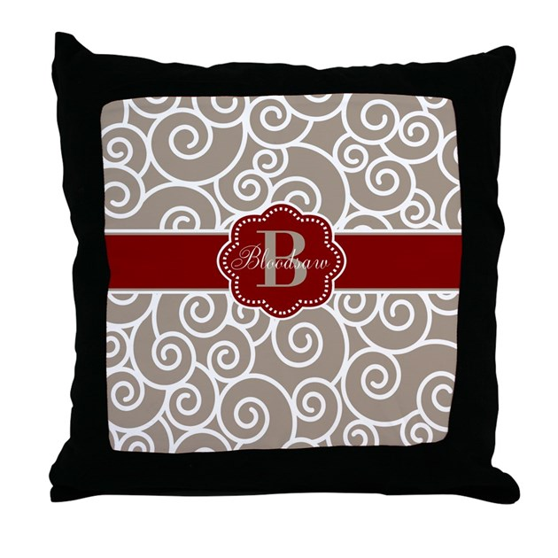 Red And Beige Throw Pillows : Beige Red Swirl Personalized Throw Pillow by CupcakesandSprinklesBirthdayTees