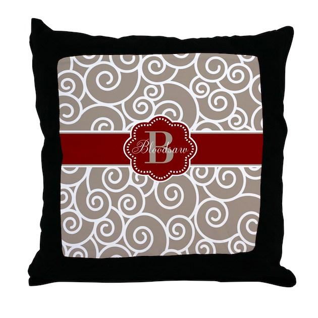 Red Brown Beige Throw Pillows : Beige Red Swirl Personalized Throw Pillow by CupcakesandSprinklesBirthdayTees