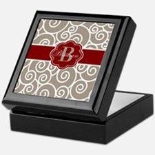 Beige Red Swirl Personalized Keepsake Box