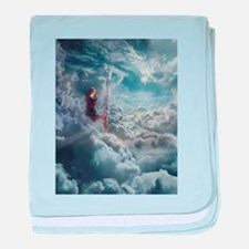 Aerialist Sitting in Clouds baby blanket