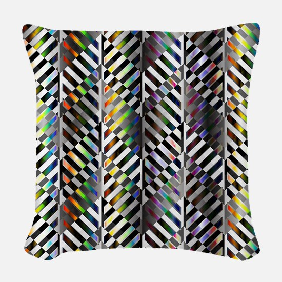 Rainbow Zebra Chevron Woven Throw Pillow