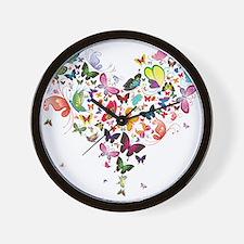 Heart of Butterflies Wall Clock