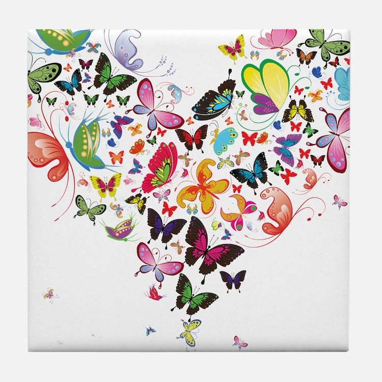 Heart of Butterflies Tile Coaster