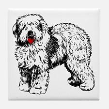Old English Sheepdog Tile Coaster