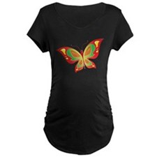 Red Butterfly Maternity T-Shirt