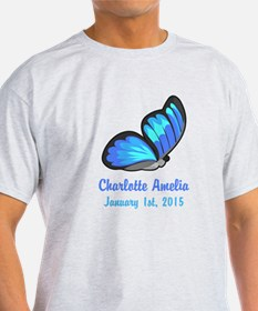 CUSTOM Blue Butterfly Baby Name Date T-Shirt