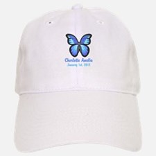 CUSTOM Blue Butterfly w/Baby Name Date Baseball Ca