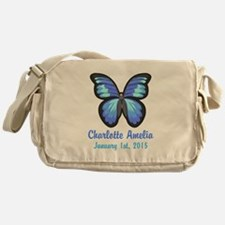 CUSTOM Blue Butterfly w/Baby Name Date Messenger B