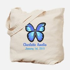 CUSTOM Blue Butterfly w/Baby Name Date Tote Bag