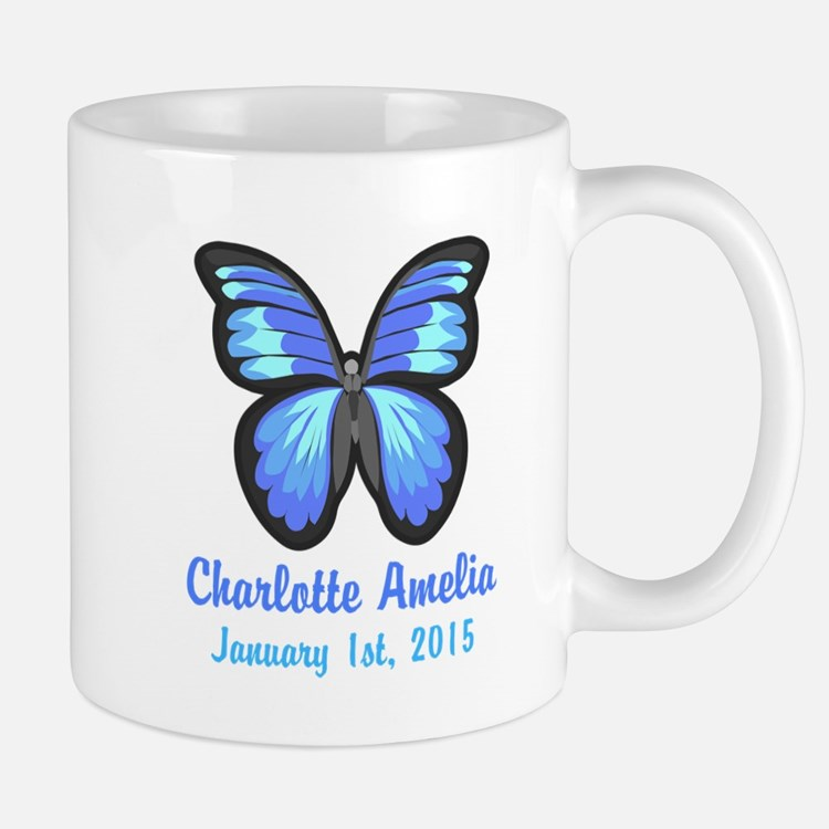 CUSTOM Blue Butterfly w/Baby Name Date Mugs