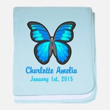 CUSTOM Blue Butterfly w/Baby Name Date baby blanke