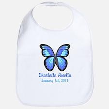 CUSTOM Blue Butterfly w/Baby Name Date Bib