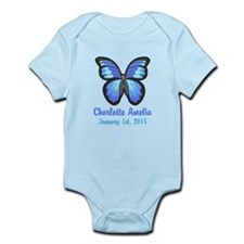 CUSTOM Blue Butterfly w/Baby Name Date Body Suit