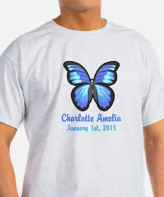 CUSTOM Blue Butterfly w/Baby Name Date T-Shirt