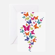 Multi Color Flying Butterflies Greeting Cards