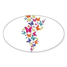 Multi Color Flying Butterflies Bumper Stickers