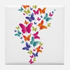 Multi Color Flying Butterflies Tile Coaster
