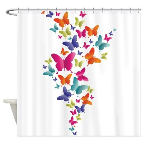Multi Color Flying Butterflies Shower Curtain By UnderTheSea2